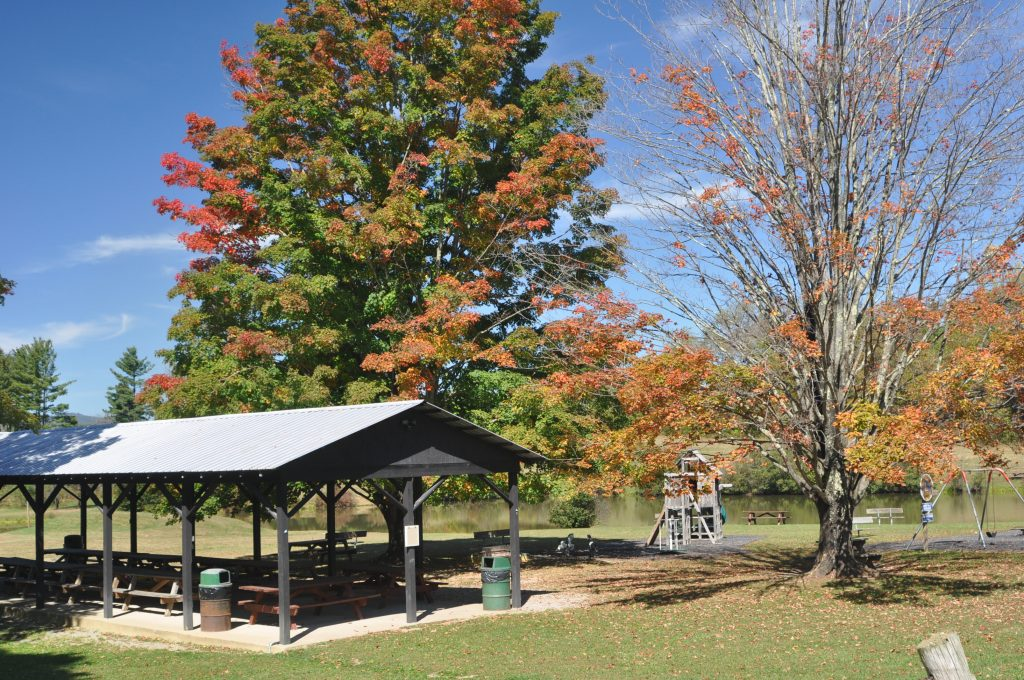 Picnic areas at Camp Pioneer in West Virginia